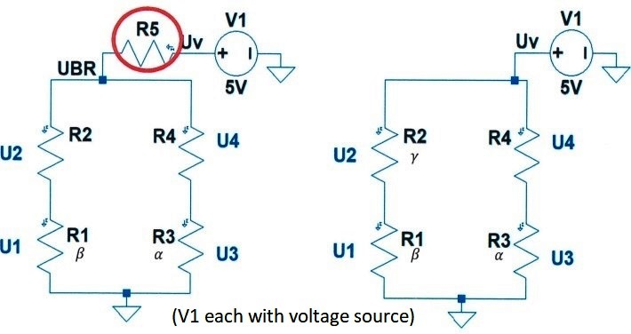 Circuit variants 1 (left) with and 2 (right) without resistor R5 [image: Karlsruhe University of Applied Sciences]